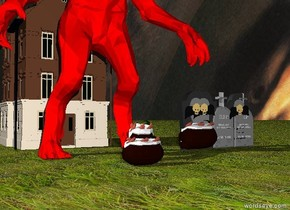 The huge red monster has a black texture. The sky has a Rembrandt texture. There is a huge potato in front of the monster. The potato is two feet tall. There is a huge potato in front of the monster. There is a huge potato to the right of the monster. The potato is three feet tall. The ground is grass.  There is a large gravestone seven feet to the right of the monster. There is a large gravestone one foot to the right of the monster. There is a large gravestone four feet to the right of the monster. There is a large gravestone six feet to the right of the monster. There is a large gravestone to the right of the monster. There is a huge potato to the right of the monster. There is a huge hole in the ground. There is a small house in back of the monster. There is a huge potato in front of the monster. The potato is three feet tall.