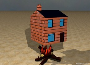 the very  tiny [brick] house is above the fire.  it is cloudy. the ground is sand.