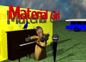 "The singer is in front of the piano. The piano is in front of the shiny yellow wall. The ground is grass.  A small blue bird is on the piano.  The sky is cloudy. The large microphone is one foot in front of the singer. The microphone is four feet tall. Red ""Material Girl"" is one foot above the singer. The blue bus is thirty feet to the right of the wall."