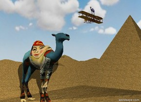 the matisse camel is on the sand mountain range. the humongous sand pyramid is 20 feet to the right of the camel. the ground is water. it is cloudy. it is morning. the small plane is above the pyramid. the plane is behind the pyramid. the tiny klee camel is on the plane. the klee camel is facing left.