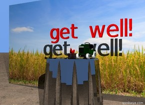 "the shiny cereal bowl is on the black shiny table. The tiny chicken is in the bowl.  a [farm] wall is 4 feet behind the table.  a spoon is to the left of the bowl. a tiny tractor is 2 inches to the right of the bowl.  the ground has a dirt texture.  the red small ""get well!"" is above the tractor."