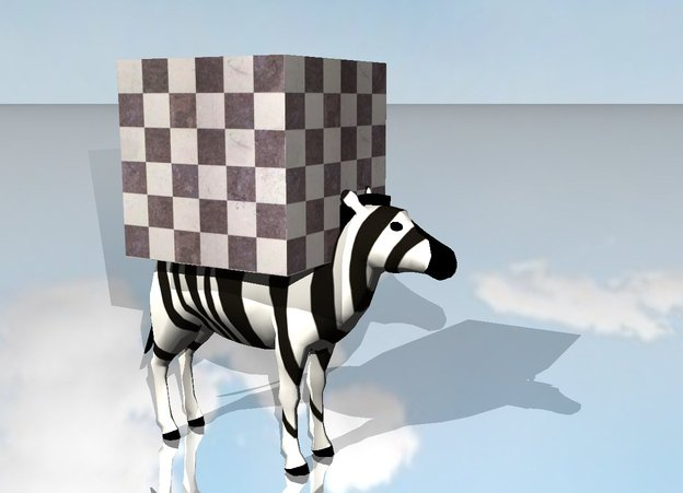 Input text: the huge checkerboard cube is on the zebra. the ground is shiny. it is cloudy.