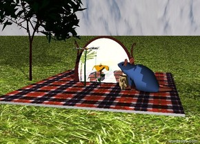 the first flower is in front of the mirror. the mirror is in the ground. the mirror is two feet tall. the flower is above the ground. the second flower is next to the first flower. the ground is grass. the mirror is brown. the sky is [cloud]. the mouse is .5 feet to the right of the second flower. the mouse is facing the mirror. the mouse is delft blue. the cheese is .6 feet to the right of the second flower. the small blanket is on the ground. the mouse is on the blanket. the cheese is on the blanket. the tiny illuminator is 3 feet to the left of the blanket. the 3 foot tall tree is 2 feet to the right of the illuminator.