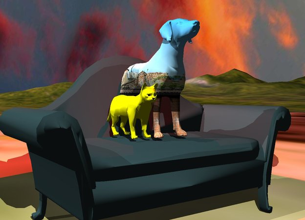Input text: the couch is on the [city] mountain range. the [green] dog is on the couch.  the yellow cat is next to the dog.  the red illuminator is above the dog.   it is cloudy.