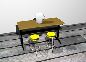 the white mug is on the table. the white wall is 3 feet behind the table. the mug is facing left. the mug is 1 foot tall. the ground is wood. the first yellow stool is in front of the table. the first yellow stool is 2 feet tall. the second yellow stool is in front of the table. the second yellow stool is .5 feet to the left of the first yellow stool. the second yellow stool is 2 feet tall.