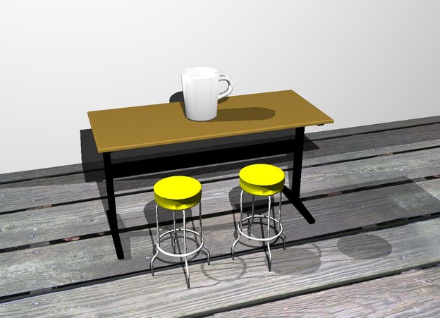 Input text: the white mug is on the table. the white wall is 3 feet behind the table. the mug is facing left. the mug is 1 foot tall. the ground is wood. the first yellow stool is in front of the table. the first yellow stool is 2 feet tall. the second yellow stool is in front of the table. the second yellow stool is .5 feet to the left of the first yellow stool. the second yellow stool is 2 feet tall.