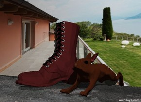 the ground is dirt. the huge army boot is in front of the [sky] wall. the huge rabbit is one foot to the right of the boot. the rabbit is in front of the wall.  the boot is brown.