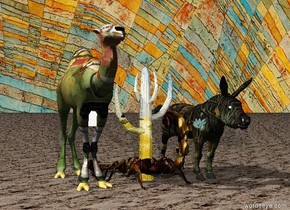 The sky is Klee.  The Matisse camel is in the desert.  The Seurat cactus is to the right of the camel. The ground has a sand texture. The large Rousseau donkey is to the right of the cactus. The gigantic Rembrandt scorpion is below the cactus.