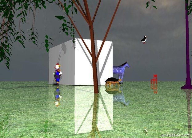 Input text: The [texture] horse is 3 feet in front of the Klee stage . The sky is cloudy . The ground is shiny . The ground has a green grass texture. The large purple street lamp is 25 feet to the left of the stage . A huge turtle is six feet to the left of the stage. A small tree is in back of the street lamp. The large [texture] mountain is 100 feet in back of the tree. The mountain is 59 feet to the left of the turtle. A tree is in back of the stage. A red chair is 20 feet in front of the stage. The chair is facing the stage.  A bird is on the stage. The bird is ten feet to the left of the horse. the man is behind the stage. he is facing north.