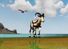 The ground is green. The sky is cloudy. A Klee goat is on the ground.  A red bird is above the goat. THe bird is one foot to the left of the goat. The ground is shiny. The ground has a grass texture. The [texture] mountain is 100 feet in back of the goat. The lake is in front of the mountain.