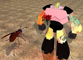 The shiny matisse robot is on the shiny dirt ground. the flower is in front of the robot. it is 4 feet above the ground. the very huge wasp is 4 feet in front of the robot. it is above the flower. it is facing the flower. the sky is cloudy. the torso of the robot is pink. the red light is in front of the robot. it is morning.