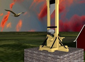 the guillotine is on the enormous wood cube. the large brain is -3 foot in front of the guillotine. the brain is 3 feet above the cube. it is cloudy. the huge bird is 9 feet to the left of the cube. it is 19 feet above the grass ground. it is facing the cube. the barn is 45 feet behind the cube. it is morning.