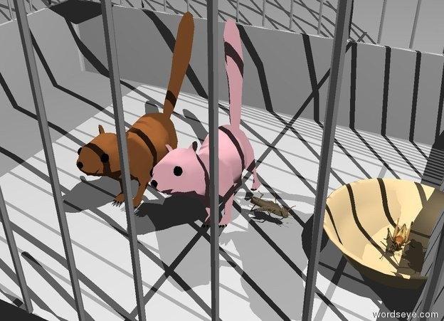 Input text: the chipmunk is in the silver bird cage. the leaning pink chipmunk is to the right of the chipmunk. the small bowl is 2 inches to the right of the pink chipmunk. the tiny bug is in the bowl. the tiny tan bug is to the left of the bowl. it is facing left.