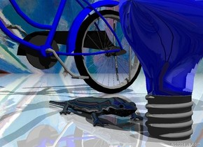 The blue light bulb is shiny.  The sky has a Matisse texture. The ground is shiny. The salamander is on the ground. The salamander is to the left of the light bulb. The salamander is shiny. The salamander is facing east. The tiny dark  blue bicycle is -1 inch to the left of the salamander.  The