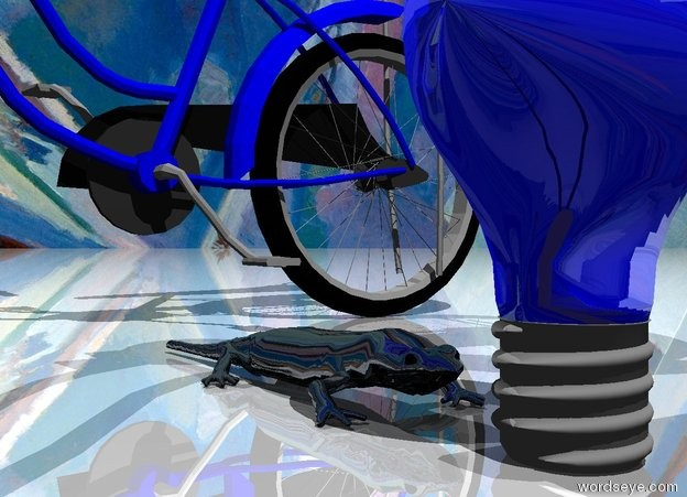Input text: The blue light bulb is shiny.  The sky has a Matisse texture. The ground is shiny. The salamander is on the ground. The salamander is to the left of the light bulb. The salamander is shiny. The salamander is facing east. The tiny dark  blue bicycle is -1 inch to the left of the salamander.  The