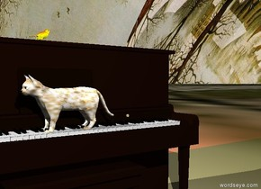 The piano. The white cat is -1.9 feet above the keyboard. The cat is facing west. The cat is -1 feet in front of  the piano. The ground has a Bruegel texture. The sky has a Bruegel  texture. The yellow bird is on the piano. The bird is facing east. The cat has a fur texture. There is a red light above the bird.