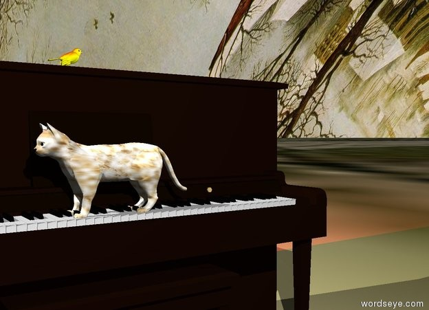 Input text: The piano. The white cat is -1.9 feet above the keyboard. The cat is facing west. The cat is -1 feet in front of  the piano. The ground has a Bruegel texture. The sky has a Bruegel  texture. The yellow bird is on the piano. The bird is facing east. The cat has a fur texture. There is a red light above the bird.