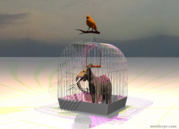 Input text: the elephant fits in the birdcage. the ground is shiny. it is cloudy.  the bird is on the cage.  the yellow light is above the bird. the magenta light is above the elephant.