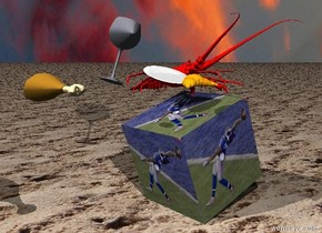 the large [odell] cube is leaning to the right. the huge red lobster is on the cube. the ground is sand. the large wine glass is 2 inches to the left of the cube. it is 3 inches above the cube. the wine glass is leaning to the left. the plate is 2 inches to the right of the wine glass. the plate is leaning forward. the orange croissant is 2 inches in front of the plate. it is cloudy. the large chicken is 34 inches to the left of the croissant. it is 5 inches in front of the croissant.