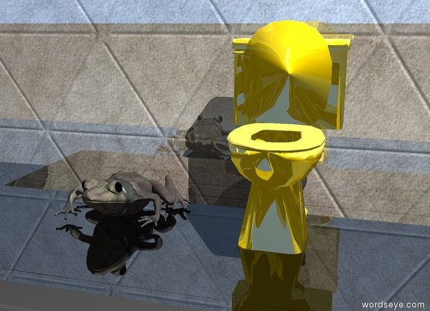 Input text: the shiny black mantel is in front of the shiny tile wall. the tiny shiny gold toilet is on the mantel. the stone frog is 2 inches to the left of the toilet.