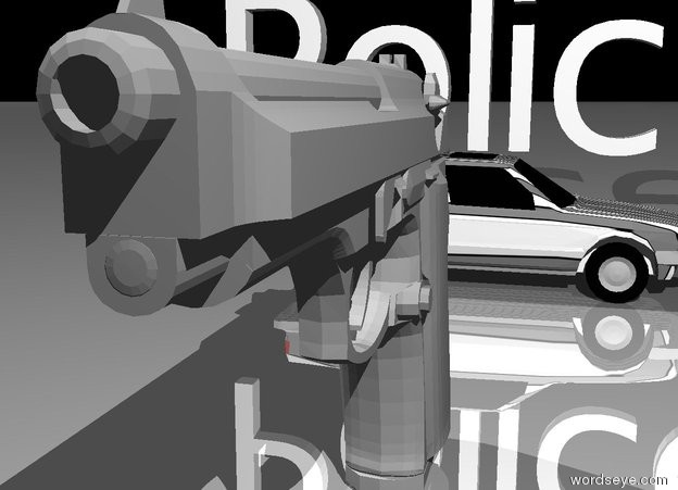 "Input text: The very large silver gun. The tiny car is three feet in back of the gun. The car is facing east. The car is white. The car has a stripe texture. ""Police"" is on the car. ""Police"" is facing south. The ground is shiny. The sky is black."