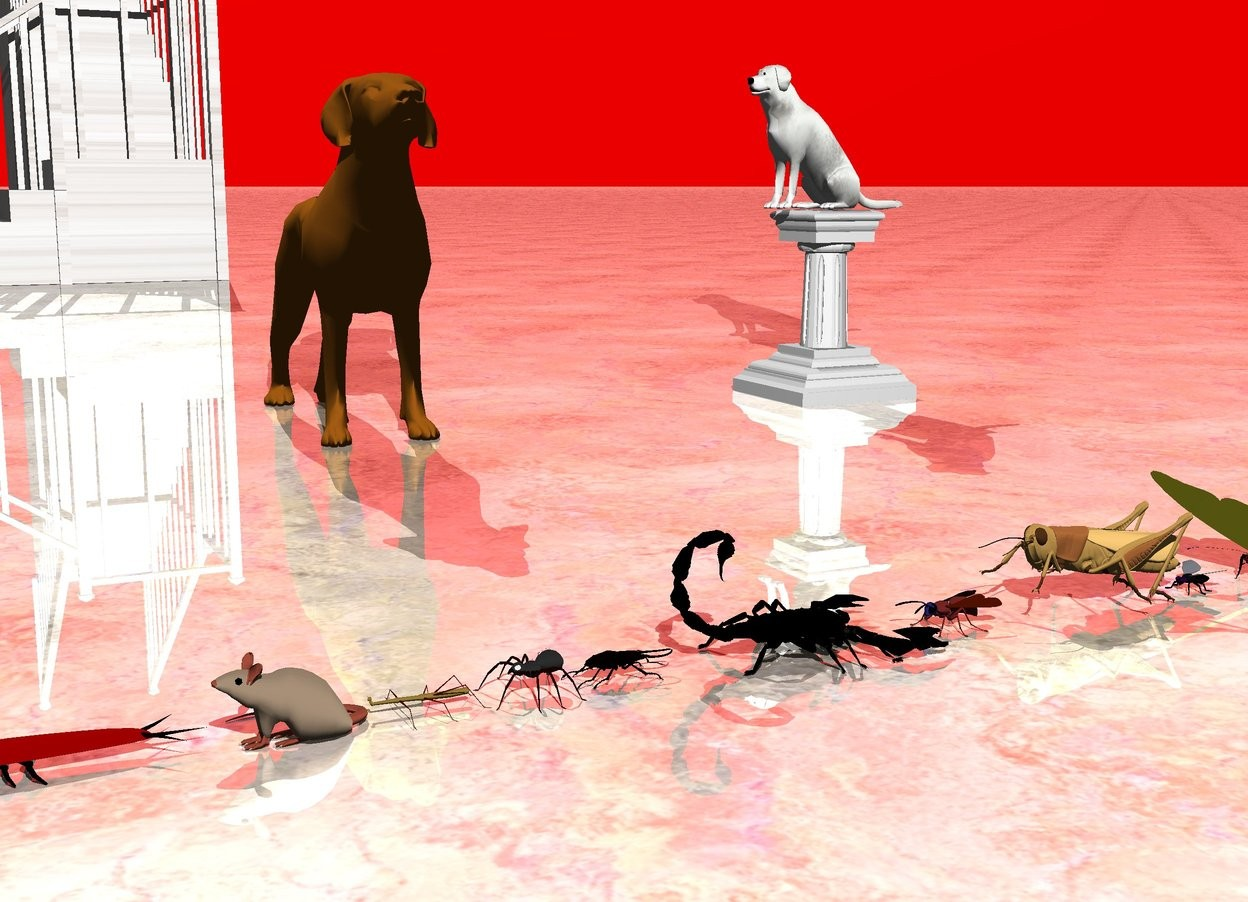 Input text: the housefly is in front of the butterfly. the grasshopper is in front of the housefly. the wasp is in front of the grasshopper. the scorpion is in front of the wasp. The stag beetle is in front of the scorpion. the spider is in front of the stag beetle. the walking stick is in front of the spider. the tiny rat is in front of the walking stick. the silver beetle is in front of the rat.   the small dog is 2 feet to the left of the scorpion. it is facing right. the ground is shiny marble. the small marble staircase is 8 feet to the left of the dog. the very tiny pedestal is 1.5 feet behind the dog. the tiny marble dog is on the pedestal.  the sky is red.