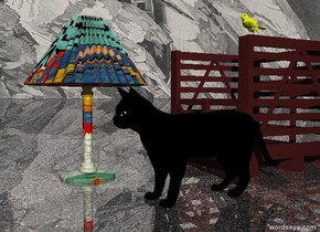 The large black cat is on the ground. The ground is sand. The ground is shiny. The sky is ice. The brown box is behind the cat. A large Matisse lamp is 1 feet to the left of the cat. The large Matisse lamp is 2 feet in front of the box. A large yellow bird is 4 inches above the box.