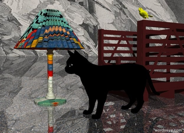 Input text: The large black cat is on the ground. The ground is sand. The ground is shiny. The sky is ice. The brown box is behind the cat. A large Matisse lamp is 1 feet to the left of the cat. The large Matisse lamp is 2 feet in front of the box. A large yellow bird is 4 inches above the box.