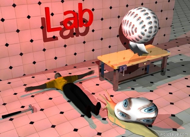 """Input text: the shiny workbench is to the right of the man. the man is face up. the bird is on the table. it is facing left. the bird is -7 inches above the table. the very large [eyes] sphere is in the bird. it is facing left. it is 1.5 foot above the table. the large hammer is to the left of the man. it is face down. it is facing the bird. the humongous [eyes] snail is 1 foot in front of the table. it is to the left of the table. it is facing the man. the red """"Lab"""" is 4 feet above the man. the red light is behind the """"Lab"""".   the tile wall is 4 feet behind the table. the ground is tile."""
