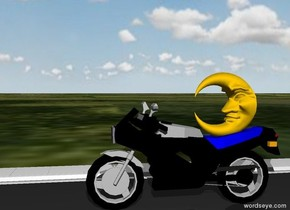 A moon is on a motorcycle. The motorcycle is on a street. The ground is grass. The sky is cloudy.