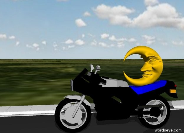 Input text: A moon is on a motorcycle. The motorcycle is on a street. The ground is grass. The sky is cloudy.