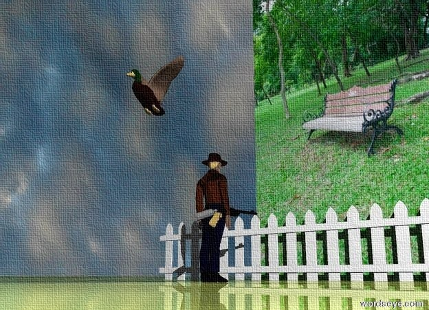 Input text: the [garden] wall is 5 feet wide. the ground is shiny grass. the small bird is 5.5 feet in front of the wall. it is 2.5 feet above the ground. it is cloudy. the small fence is 1 foot in front of the wall. it is 10 feet wide. the very small man is 3 feet in front of the fence. He is facing the wall. the small gun is -1.7 inches to the right of the man.  it is 10 inches above the ground. it is facing left.