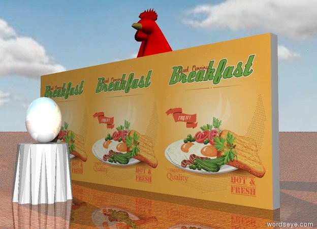 Input text: the [celebrity] wall. the table is 4 feet in front of the wall. the ground is shiny tile. the chicken is behind the wall. it is 12 feet tall. the very huge shiny white egg is on the table. it is facing left. it is leaning 90 degrees to the left. it is cloudy.