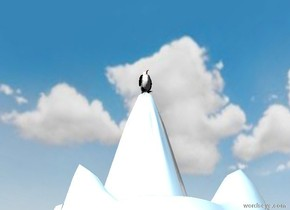 the penguin is on the tall shiny white mountain. it is cloudy.