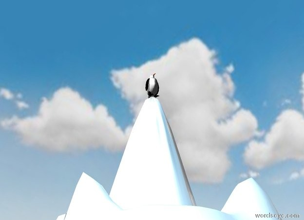 Input text: the penguin is on the tall shiny white mountain. it is cloudy.