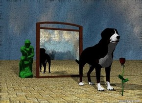 A wide mirror is two feet behind the dog. it is cloudy. the ground has a tile texture.  the blossom is in front of the dog. The small forest green statue is behind the mirror. it is left of the mirror.