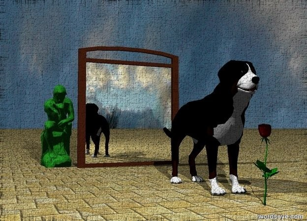 Input text:  A wide mirror is two feet behind the dog. it is cloudy. the ground has a tile texture.  the blossom is in front of the dog. The small forest green statue is behind the mirror. it is left of the mirror.