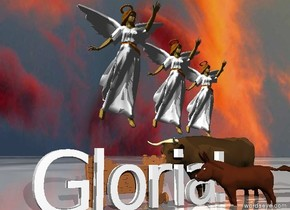 "Three angels are four feet above the ground. The ground is shiny. The sky is cloudy. A cradle is on the ground.  An ox is to the right of the cradle. A donkey is in front of the ox. The donkey and the ox are facing the cradle. The ground has an ice texture. Large ""Gloria!"" is in front of the cradle. The angels are above the ox."