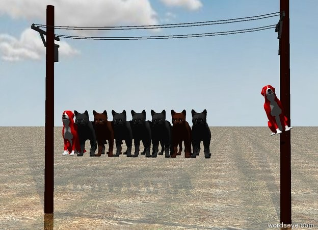 Input text: the 7 cats are 2 feet above the ground. the small red dog is one foot to the right of the cats. the dog is leaning to the right. the dog is 2.5 feet above the ground.  the 2nd small red dog is just left of the cats.  the tiny pole is behind the cats. it is on the ground.  it is cloudy. the ground is shiny dirt.