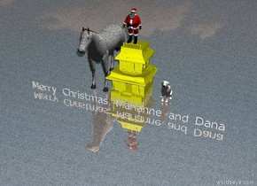 "Santa Claus is above the small house.  The small house is yellow. A large stone horse is to the left of the house. The ground is shiny stone. A blight light is on the left.  ""Merry Christmas, Marianne and Dana"" is five feet in front of the house. A mirror is two feet to the left of the horse. A very large white dog is two feet to the right of the house."