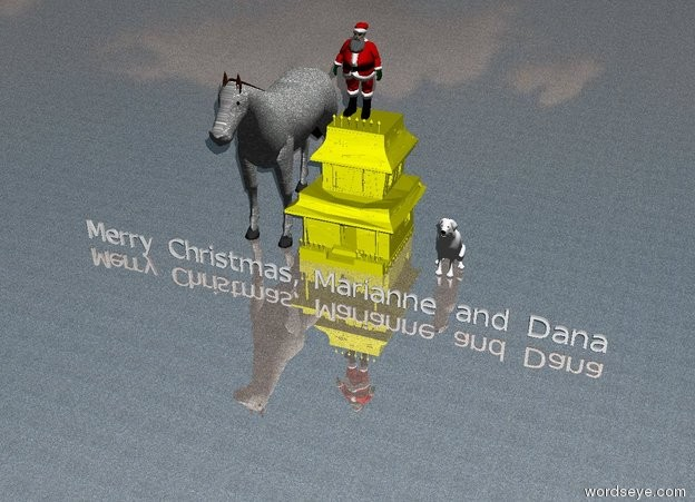 "Input text: Santa Claus is above the small house.  The small house is yellow. A large stone horse is to the left of the house. The ground is shiny stone. A blight light is on the left.  ""Merry Christmas, Marianne and Dana"" is five feet in front of the house. A mirror is two feet to the left of the horse. A very large white dog is two feet to the right of the house."