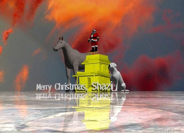 "Input text: Santa Claus is above the small house.  The small house is yellow. A large stone horse is to the left of the house. The ground is shiny stone. ""Merry Christmas, Shazi"" is five feet in front of the house. A mirror is two feet to the left of the horse. A very large white dog is two feet to the right of the house. It is cloudy."