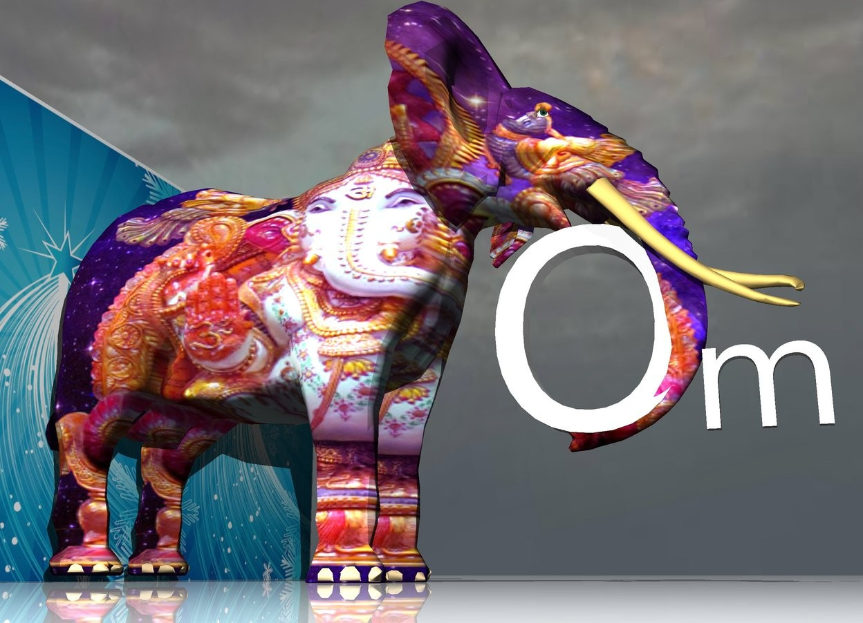 "Input text: the [celebration] wall is behind the [ganesh] elephant. the ground is shiny. the large ""O"" is -4.5 feet in front of the elephant. it is facing left. the ""O"" is 2 feet above the ground. the ""m"" is in front of the ""O"". it is facing left. it is cloudy."