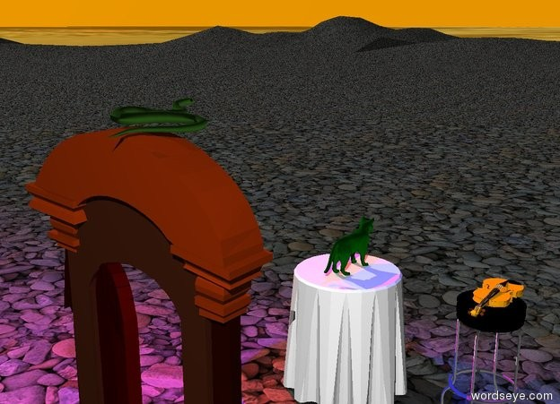 Input text: the table is on the stone mountain range. the green cat is on the table. the blue light is one foot above the cat. the ground is shiny.   the door is 3 feet behind the table. the snake is on the door. it is morning. the sky is orange. the stool is a foot to the left of the table. the orange violin is on the stool. the ground is water. the red light is one foot to the right of the blue light.