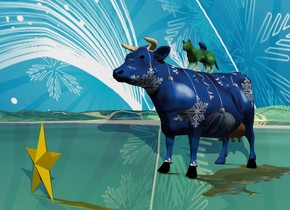 the gold star is on the shiny grass mountain range. the [christmas] cow is 2 feet behind the star. the ground is shiny. the [christmas] sky. the [christmas] cat is on the cow. the small [christmas] mouse is on the cat.