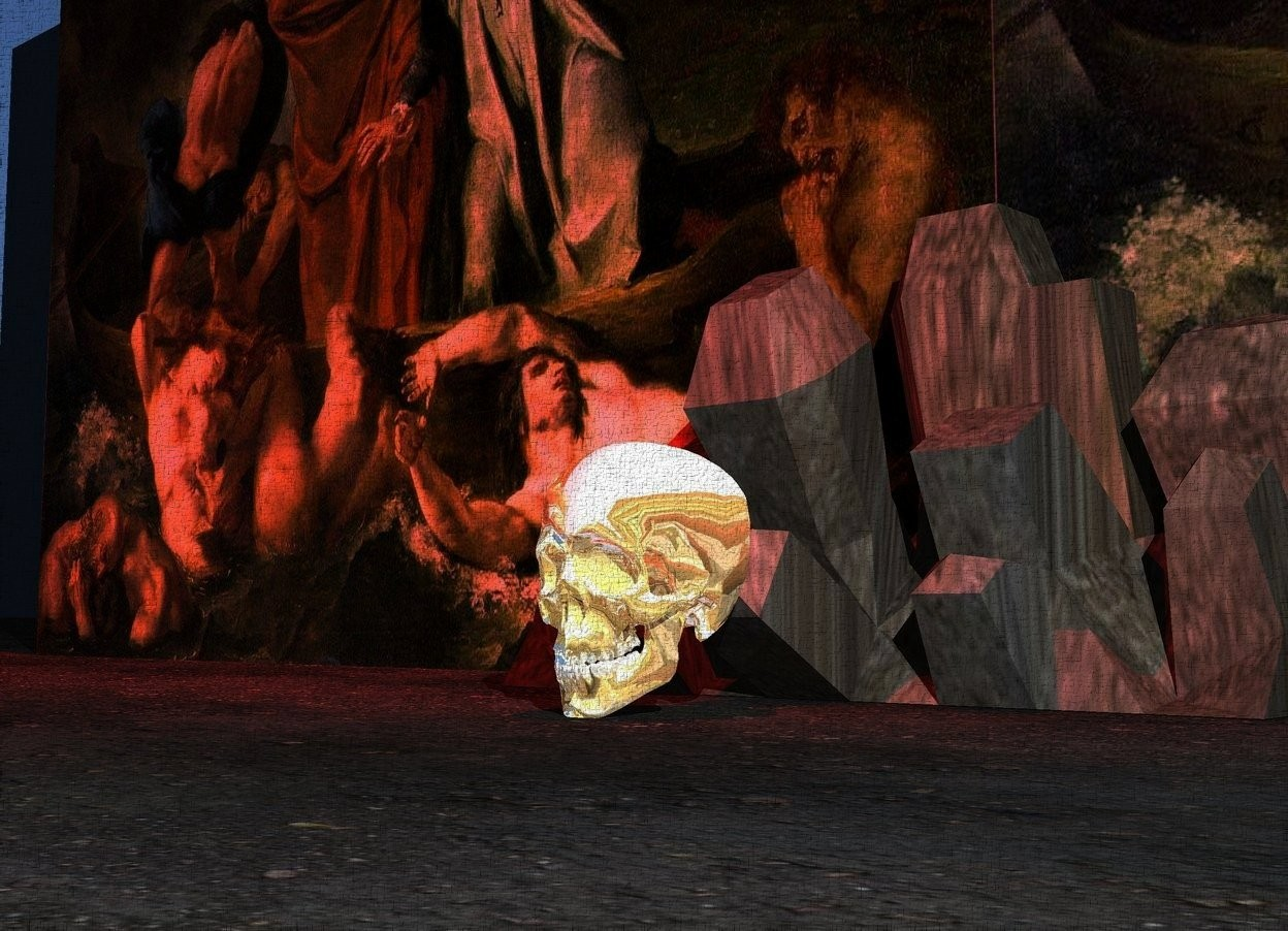 Input text: the shiny skull is in front of the rock. the ground is dirt. the red illuminator is 2 foot above the skull. the skull is on the ground. the narrow wall is behind the rock. the wall has a hell texture.