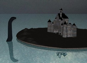 the ground is water. it is shiny.a small castle is on a large  tall stone island. the castle has a stone texture. a large boat is in front of the island. the island is  above the ground. it is cloudy. a huge dinosaur is behind the island. the dinosaur is in the ground.  the dinosaur has a skin texture.