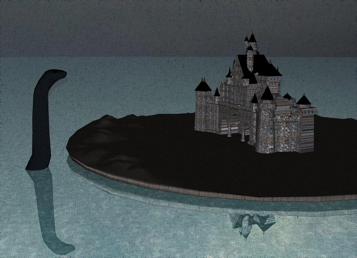 Input text: the ground is water. it is shiny.a small castle is on a large  tall stone island. the castle has a stone texture. a large boat is in front of the island. the island is  above the ground. it is cloudy. a huge dinosaur is behind the island. the dinosaur is in the ground.  the dinosaur has a skin texture.