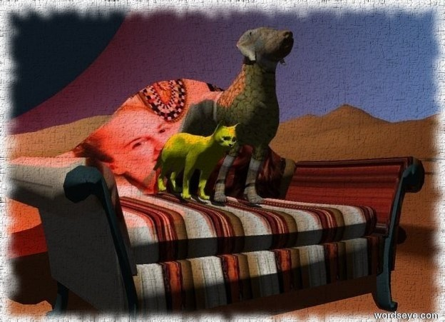 Input text: the [diana] couch is on the [city] mountain range. the [green] dog is on the couch.  the yellow cat is next to the dog.  the red illuminator is above the dog.
