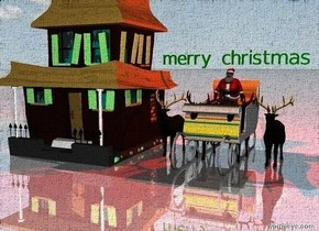 """the ground is shiny. the sky is cloudy.  4 reindeer are 1 feet in front of the large matisse sleigh.  the house. santa is standing on the sleigh.  the green """"merry christmas"""" is above him.  a red light is above it."""